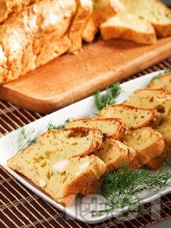 Пухкав солен кекс със сирене, заквасена сметана и копър - снимка на рецептата